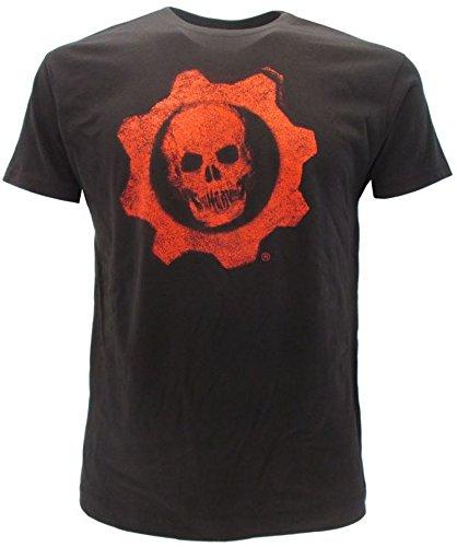 Gears of War T-shirt original 4 têtes de mort Classic Cog logo marque noire avec étiquette et étiquette d'origine, T-shirt - Noir - X-Small
