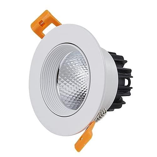 PJDOOJAE Spotlight LED Floodlight Empotrado LED Luz empotrable 3W LED Downlights Angulo Ajustable Proyectores de ángulo Abierto Tamaño del Techo 50-60mm COB Luces de Techo CRI 90 Efecto Luces para la