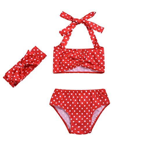 Jimmackey Costumi Bagno Neonata Bambina Ruched Bikini Set Costumi da Bagno Stampa DOT Bow Swimsuit Due Pezzi Costumi Mare Bimba Beachwear
