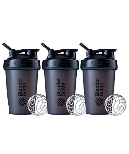 BlenderBottle Classic Shaker Bottle Perfect for Protein Shakes and Pre Workout, 20-Ounce (3 Pack), All Black
