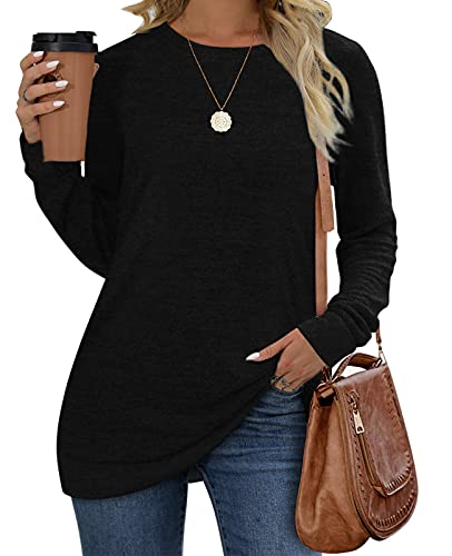 Womens Tops Long Sleeve Crew Neck Loose Fit Casual Comfy Tunic Sweatshirts L