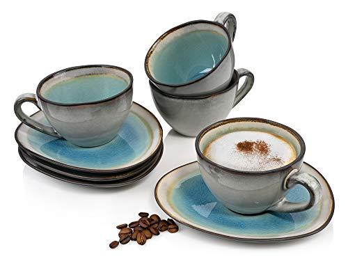 Sänger Kaffeetassen Set Capri 8 teiliges Tassen Set für 4 Personen aus Steingut, Tee-Becher und Untertasse, erweiterbar, Alltag, Frühstück, Café, Brunch, besonderes Dinner, Outdoor Kaffee-Service