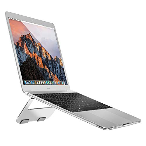 MoKo Laptop Stand Compatible with Notebook/Tablet Up to 15'', Desktop Multi-Angle Holder Bracket Seat with Silicone Pad, Replacement for MacBook Pro 15'' MacBook Air 13'', Acer Samsung ASUS, Silver