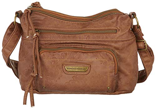 Stone Mountain Double Washed Embossed Crossbody Handbag One Size Brown