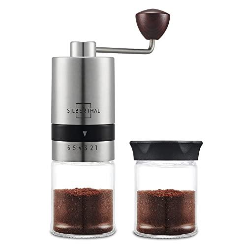 SILBERTHAL Molinillo de café manual | Moledora cafe manual regulable | 6 niveles de molido | Coffee grinder Acero inoxidable y vidrio