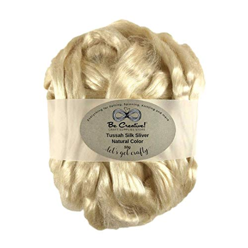 Tussah Silk Sliver Luxury Natural Unbleached Honey Color 50g