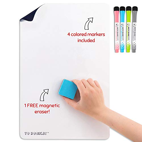 """Magnetic Dry Erase White Board Sheet for Kitchen Refrigerator 17"""" x 11"""" Includes 4 Magnetic Markers and Fridge Eraser"""