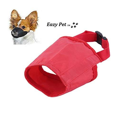 Shih Tzu Maulkorb für Hunde, Größe S, atmungsaktiv, Anti-Biss-Bell-Nylon, bequem, leicht, Schnellverschluss, Rot