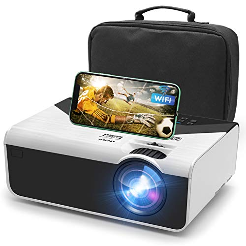 Mini Projector, 5500Lux Portable WiFi Projector Full HD 1080P Supported, with Synchronize Smart Phone Screen, Compatible with Smartphone, TV Stick, HDMI, USB , AV for Home Entertainment/ Outdoor Movie