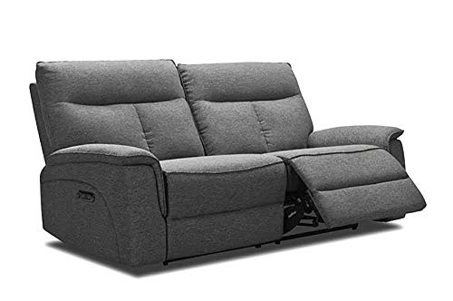 Meubletmoi - Sofá relaxation de 3 plazas, tejido gris jaspeado – eléctrico...