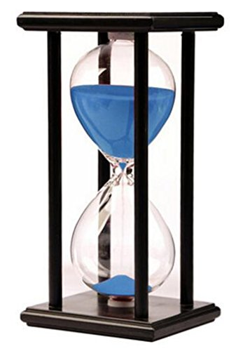 Lodunsyr Sandglass 30 Minutes Timer Hourglass for Ornament Decoration Xmas New Year Birthday Tea Coffee Table Book Shelf School Game Wooden Frame Sand Timer Blue