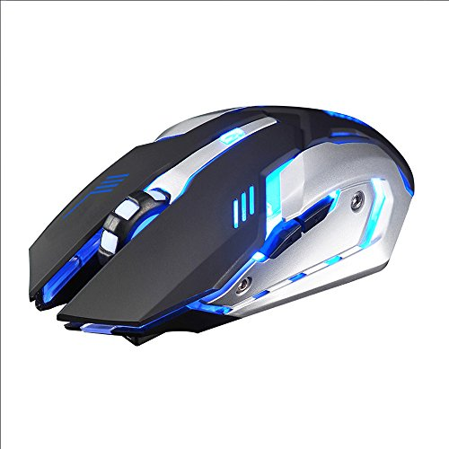 Rechargeable Gaming Mouse,X7 Wireless Silent LED Backlit USB Optical Ergonomic Gaming Mouse for Computer,PC (Blue)