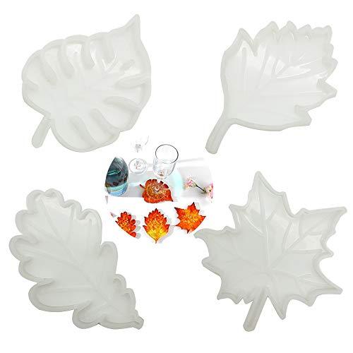 4 Piezas Molde de Resina de Silicona para Posavasos, Tapete para Cuenco, Decoración de Escritorio, Decoración del Hogar, 4 Tipos de Moldes de Epoxi de Hojas