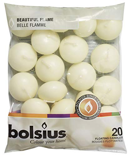Bolsius Pack of 20 Ivory Floating Candles 1.3/4 Inch