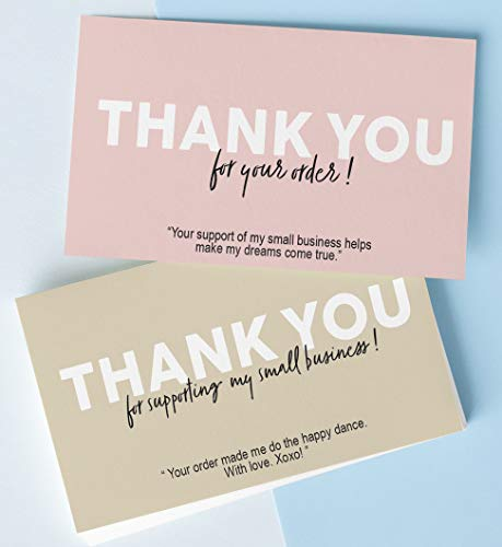 100 pcs Thank you for supporting my small business cards (2x3.5 business card size), thank you for your order cards, Premium cardstock and coating