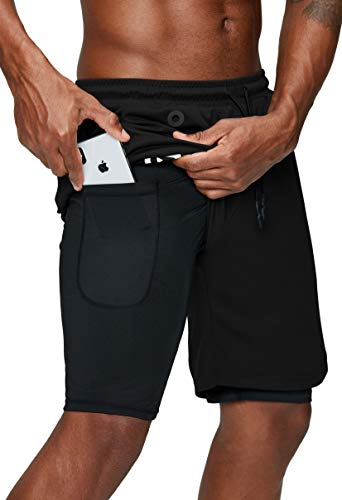 Pinkbomb Men's 2 in 1 Running Shorts Gym Workout Quick Dry Mens Shorts with Phone Pocket (Black, Large)