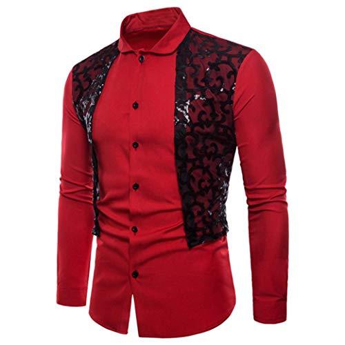 UJUNAOR Herren Langarm Oxford Formelle beiläufige Anzüge Slim Fit T-Shirt Kleid Shirts Spitze Patchwork Bluse Top(2XL,Rot)
