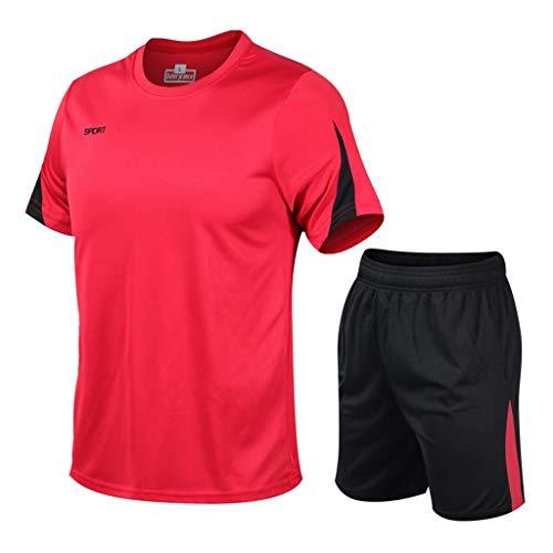 Herren Sport Laufen Kompressionshemd Yoga Athletic Outfit Lederhose FitnessAusbildung Fitnessstudio Kleidung Yoga Anzüge Trainieren Ausbildung Ausbildungsanzüge (5XL,4Rot)