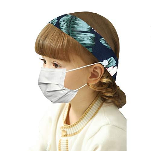 Bandeau Cheveux Enfant Vintage,Bluestercool Sport Bandeau Bouton pour Support de Masque élastique Bande de Cheveux Extensible tête Wrap Twisted Cheveux Mignons Accessoires