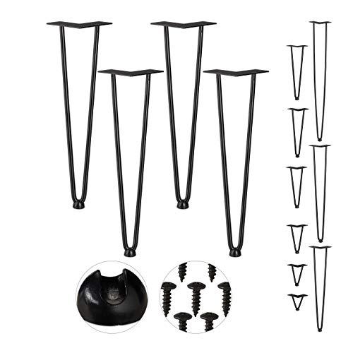 Relaxdays Hairpin Legs, 4er Set, 2 Streben, Metall, Haarnadel Tischbein für Hocker, Tisch & Schrank, 45 cm hoch, schwarz