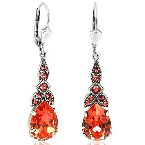 Silber Ohrringe Jugendstil mit Kristallen von Swarovski® Korall-Rot NOBEL SCHMUCK