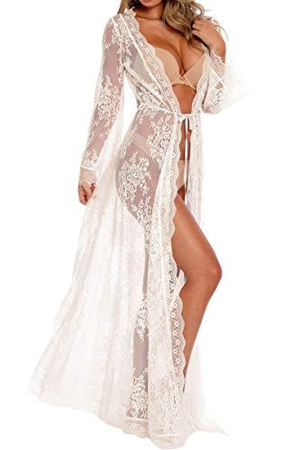 L-Peach Damen V-Ausschnitt Langes Spitzen Kleid Maxi Strandkleid Pareo Cover ups