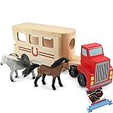 Melissa & Doug Wooden Horse Carrier Toy & 1 Scratch Art Mini-Pad Bundle (04097)