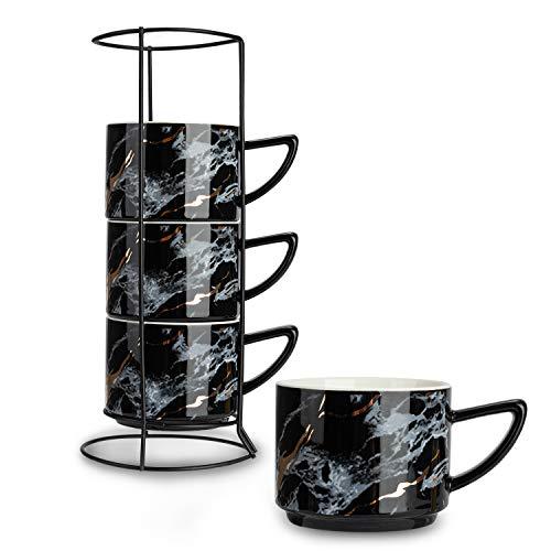 Soprety Kaffeetassen aus Keramik, stapelbar, 200 ml, Porzellan, Teetassen mit Edelstahlständer für Heimbüro, Schwarz, 4 Stück