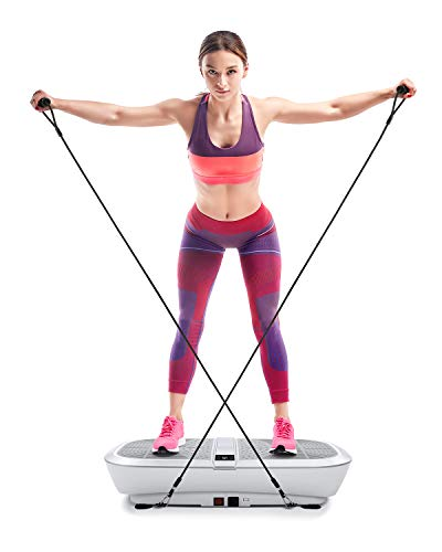 MaxKare 3D Vibration Plate Vibrating Platform Whole Body Shaper Exercise Machine for Home-Accelerate Recovery Weight Loss Toning with Remote Control & Resistance Bands