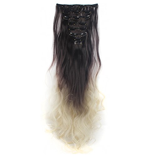 LHFLIVE Womens 18 Clips 8pcs Full Head Hair Extensions 24 Inch Long Curly Dark Brown to Bleach Blonde Hairpiece