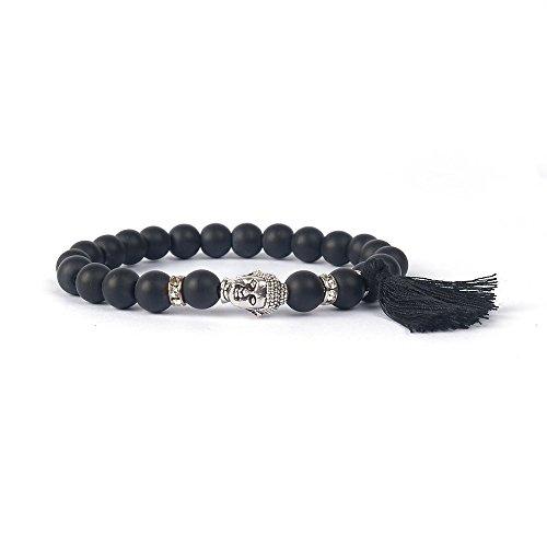 SoulSisters Lieblingsschmuck Handmade Shabby Armband aus schwarzen Naturstein Perlen und silbernem kristall Buddha Anhänger mit süßer Quaste