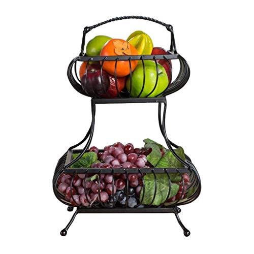 QTT Bananenkorb, Haushaltskorb, Snack-Tablett, Wohnzimmer, Obstkorb, Küchenablage, Zweischicht-Obstkorb Aus Schmiedeeisen, Obstschale
