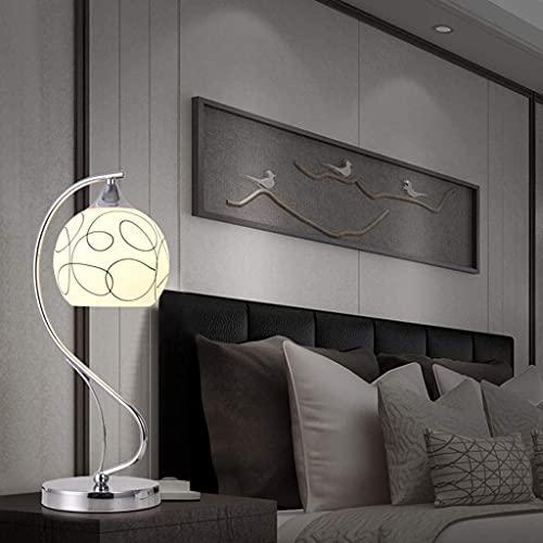 XFXDBT Lámpara de mesita de Noche Moderna Mesa de Escritorio Minimalista Lámpara de Mesa Estudio Dormitorio Decoración Metal Lámpara de Mesa de Cristal cepillada (Color : Silver)