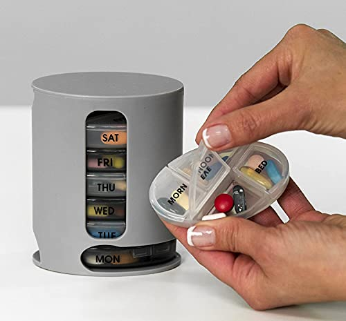 ESYA Pill Organizer 7 Portable Tray Pill Box with 4 Compartments Organize Medicine and Vitamins for Each day Storage Box