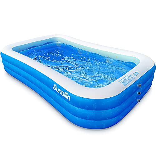 """Sunallin Inflatable Swimming Pool for Kids and Adults, 118"""" x 72"""" x 22"""" Thickened Kiddie Pool for Baby and Children, Family Kid Pool for Outdoor,Backyard, Garden, Ages 3+"""
