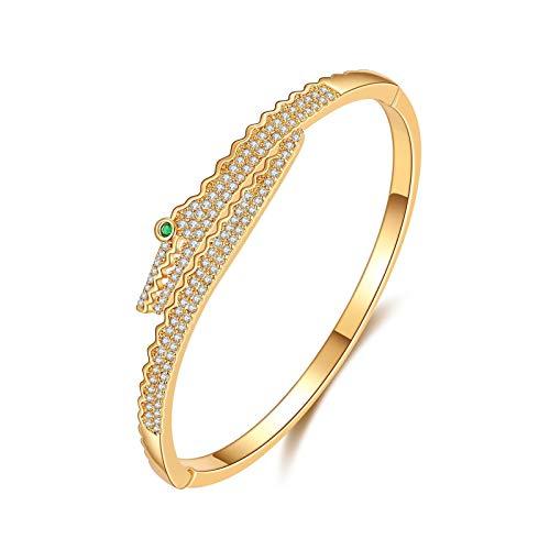 1 unid brazaletes para mujer en forma de cocodrilo primavera pulsera Zircon incrustaciones pulsera joyería oro