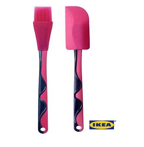 Pennello e spatola in silicone di qualità standard per pasticceria e barbecue. Rosa e blu, spatola e spazzola