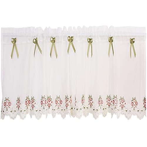 Café Cortinas pequeñas Voile Filtrado de luz Cortinas blancas para ventanas cortas Estampado de flores Bordado Cocina Baño Decoración para el hogar, W150 x L58cm W150 x L130cm ( Size : W250xH130cm )