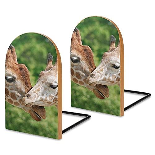 Bokstöd i trä paket med 2, mamma och baby giraff halkfri bokställning för hem kontor skola robusta bokhållare för tunga böcker 12,7 x 7,6 cm