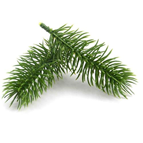 20pcs Artificial Pine Branches Plastic Green Pine Plants Branches Wedding Party Pine Leaves for Diy Craft Wreath