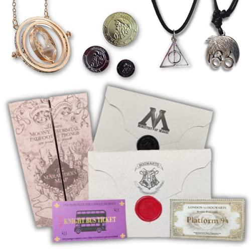 Kit Completo Harry Potter Presente - Mapa do Maroto, Carta Hogwarts & Ministério, Colares Harry & Relíquias, Galeões e Colar Vira-Tempo Articulado