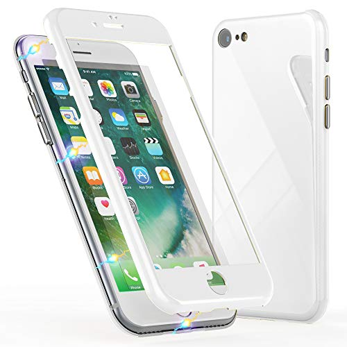 NALIA Magnetische 360 ° glazen hoes compatibel met iPhone 8/7, Ultra-Slim Hard-Case Dun gehard glas Back-Cover met frame en displaybescherming, Full-Body beschermhoes Bumper Mobile Phone Case