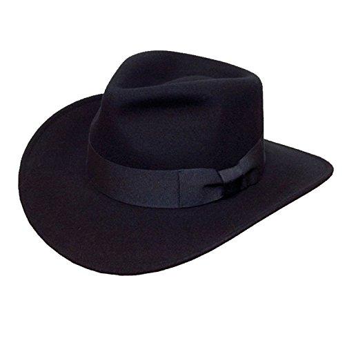 Chapeau Fedora de qualité pour homme avec large bande de ruban 100 % laine - Noir - 60