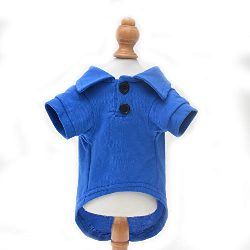 Lovelonglong Basic Dog Polo Shirts Premium Cotton, Polo T-Shirts for Large Medium Small Dogs with a Two-Button Collar Blank Color Blue XS