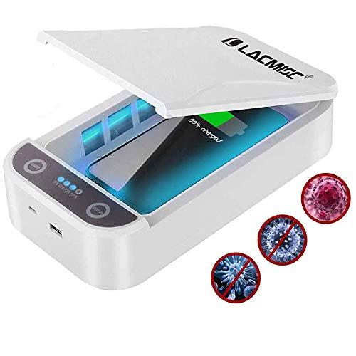 Lacmisc® UV Sterilisator Handy UV-Licht mit kabelloser Ladefunktion Haushaltssterilisator Box UV Handy Sterilisator Aromatherapie Funktionsdesinfektionsgerät für iPhone Android Uhren