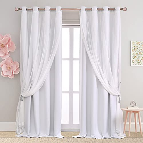 SOFJAGETQ White Curtains 84 inch Length - Double Layers Voile Sheer and Blackout Curtains & Draperies Panels with Lace Hem for Bedroom Living Room, Greyish White, Set of 2