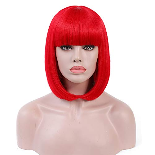 Rosa Star Short Bob Hair Wigs 12inch with Flat Bangs Straight Synthetic Colorful Costume Cosplay Wig for Women (red)