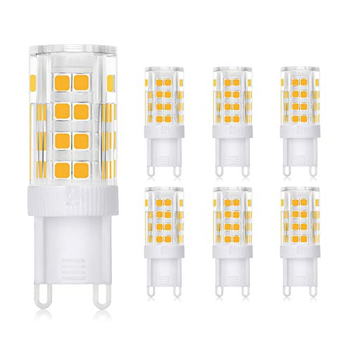 WEDNA Bombilla LED G9 3W, Equivalente 30W Lampara Halógena, 52 LEDs G9, 300 lúmenes, Blanco Cálido 3000K, CA 220-240V, No regulable, Sin parpadeo, paquete de 6