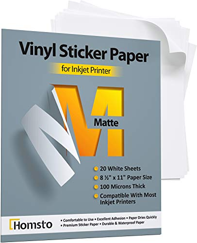Premium Printable Vinyl Sticker Paper for Inkjet Printer - 20 Matte Waterproof Sticker Paper - White Decal Paper - Tear and Scratch Resistant, Quick Dry, Letter Size 8.5' х 11'