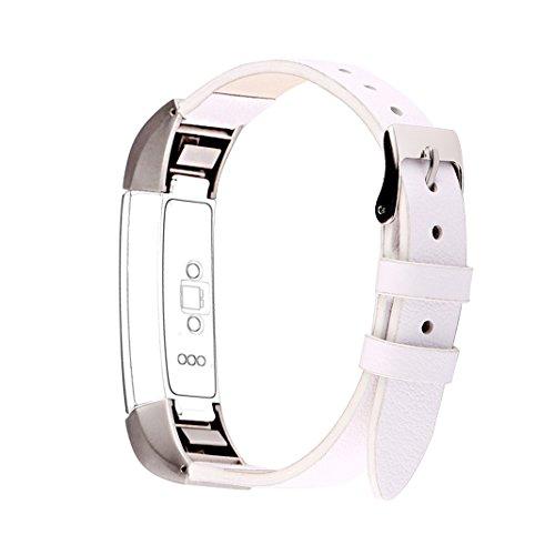 Aisports Bracelet de rechange en cuir avec fermoir en métal pour Fitbit Alta HR – Blanc